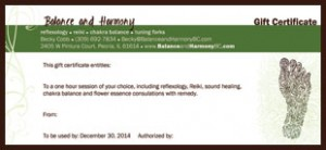 Peoria reflexology gift certificate for balance and harmony